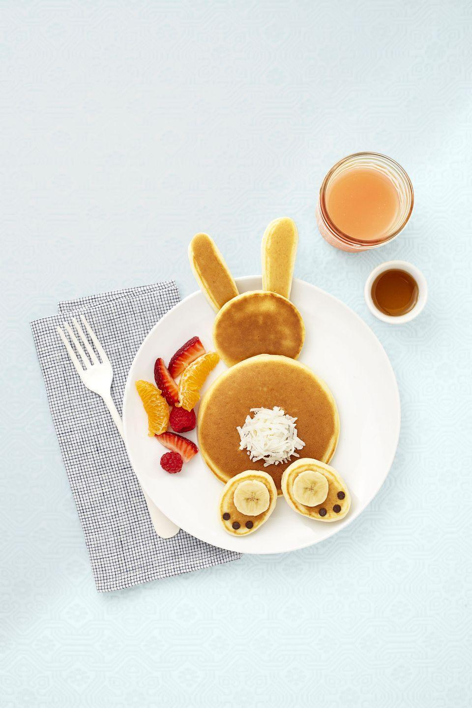 """<p>Eggs, bananas, and self-rising flour make for delicious pancake batter. You'll earn extra points with the little ones for having fun with this fruit-infused breakfast.</p><p><em><em><a href=""""https://www.goodhousekeeping.com/food-recipes/a1515/3-ingredient-banana-pancakes-recipe-ghk0415/"""" rel=""""nofollow noopener"""" target=""""_blank"""" data-ylk=""""slk:Get the 3-Ingredient Banana Pancakes recipe »"""" class=""""link rapid-noclick-resp"""">Get the 3-Ingredient Banana Pancakes recipe »</a></em></em></p>"""