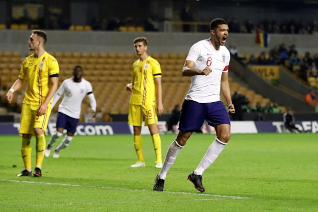Soccer Football - Under 21 International Friendly - England vs Romania - Molineux Stadium, Wolverhampton, Britain - March 24, 2018 England's Jake Clarke-Salter celebrates scoring their second goal Action Images via Reuters/Carl Recine
