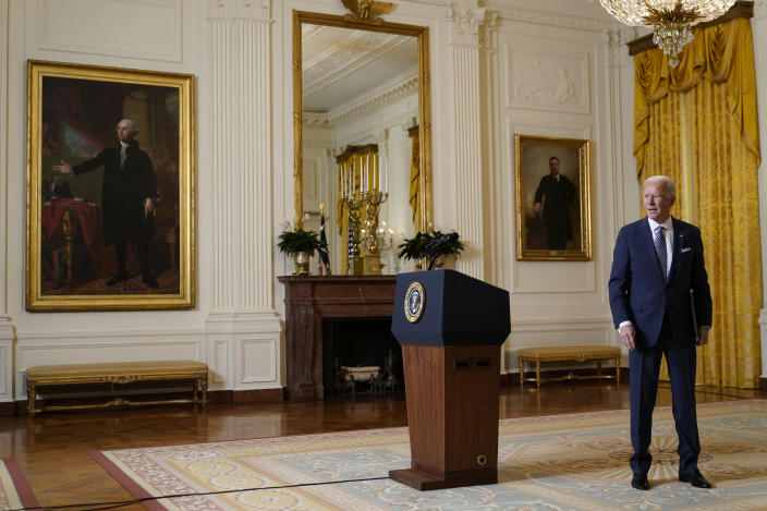 President Joe Biden leaves after a virtual event with the Munich Security Conference in the East Room of the White House, Friday, Feb. 19, 2021, in Washington. (AP Photo/Patrick Semansky)
