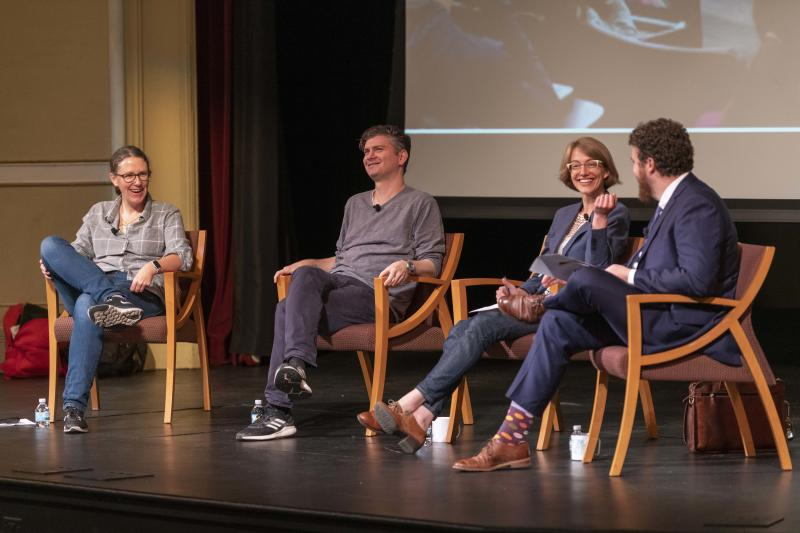 A discussion during the God and the Good Life class at the University of Notre Dame. From left, Meghan Sullivan, Mike Schur, Laura Callahan and Paul Blaschko. (Photo: Barbara Johnston/University of Notre Dame)