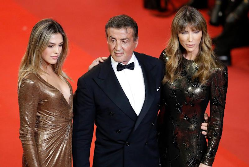 Sylvester Stallone with his wife and daughter