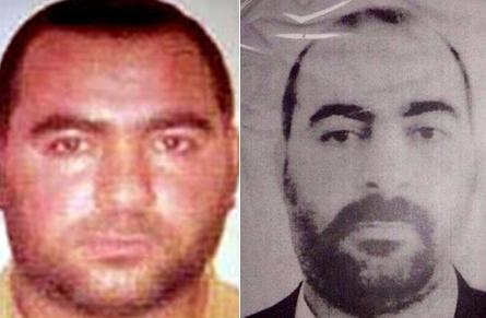 A combo of two pictures released by the US Department of State's Bureau of Diplomatic Security (L) and by Iraqi Ministry of Interior allegedly shows photographs of Abu Bakr al-Baghdadi