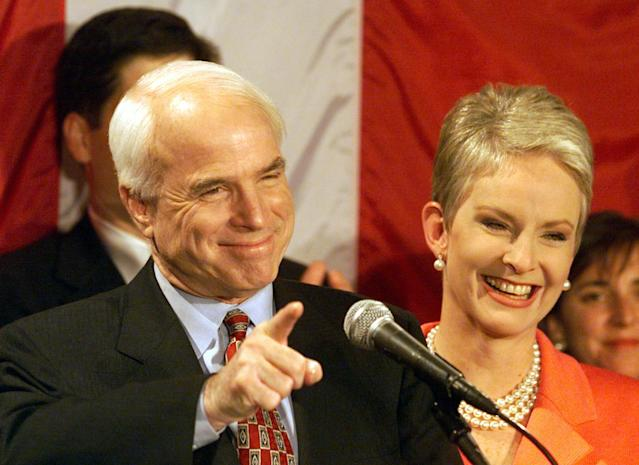 <p>Sen. John McCain and his wife Cindy at the Pacific Design Center in Los Angeles, Calif., on Super Tuesday, March 8, 2000. (Photo: Carolyn Cole/Los Angeles Times via Getty Images) </p>