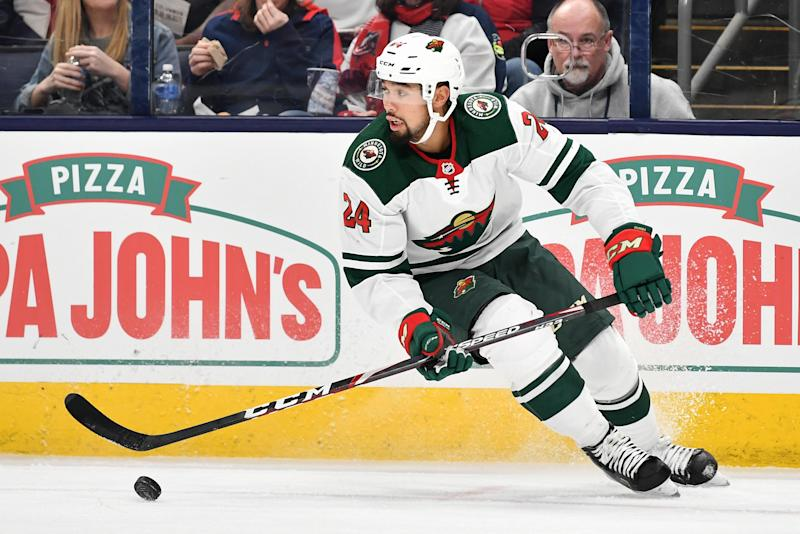 COLUMBUS, OH - FEBRUARY 28: Matt Dumba #24 of the Minnesota Wild skates against the Columbus Blue Jackets on February 28, 2020 at Nationwide Arena in Columbus, Ohio. (Photo by Jamie Sabau/NHLI via Getty Images)