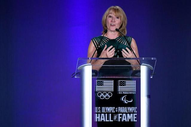 Susanne Lyons, the USOPC Chair speaks during the US Olympic Hall of Fame 2019 induction ceremony in Colorado Springs, Colorado (AFP Photo/Jamie Schwaberow)