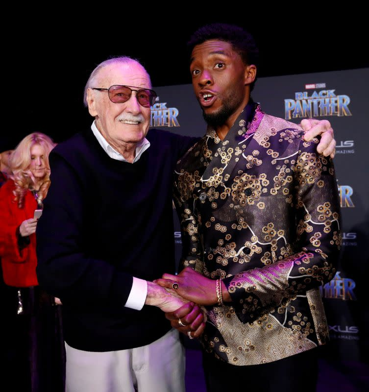 "FILE PHOTO: Lee poses with cast member Boseman at the premiere of ""Black Panther"" in Los Angeles"