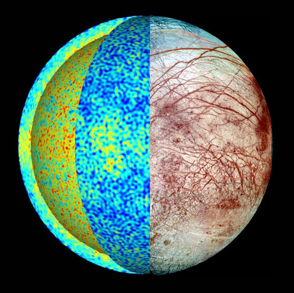 This rendering of Europa shows the temperature field in a simulation of the icy Jupiter moon's global ocean dynamics, where hot plumes (red) rise from the seafloor and cool fluid (blue) sinks down from the ice-ocean border. More heat is deliver