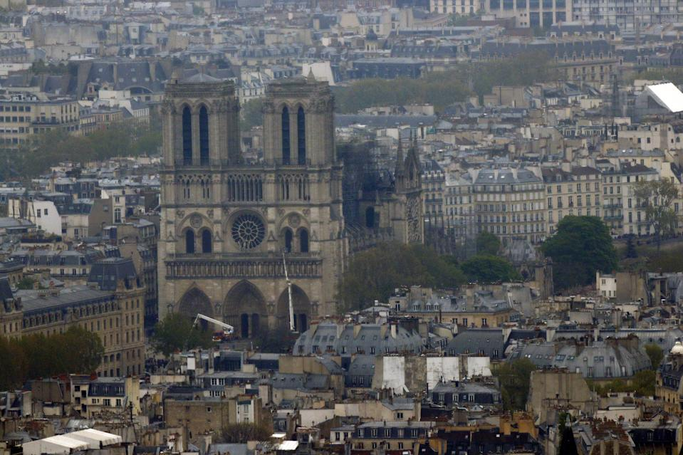 View of Notre-Dame Cathedral after a massive fire devastated large parts of the gothic gem in Paris, France April 16, 2019. REUTERS/Philippe Wojazer