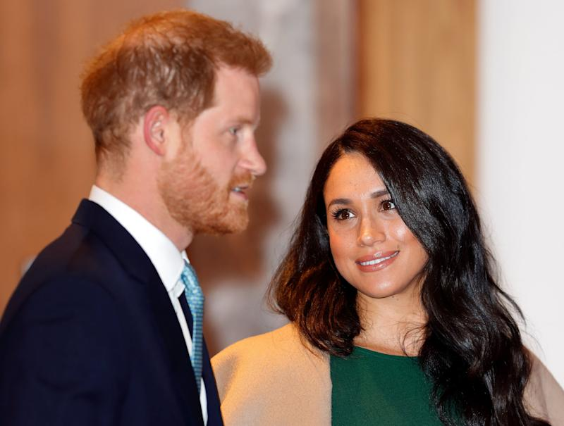 "Negotiations with the palace end. It's announced that Harry and Meghan will <a href=""https://www.huffingtonpost.ca/entry/prince-harry-meghan-markle-royal-titles_ca_5e23526ec5b674e44b990ee5"" target=""_blank"" rel=""noopener noreferrer"">give up their royal titles</a> and will no longer accept any public funds. ""Harry, Meghan and Archie will always be much loved members of my family,"" the Queen says in a statement."