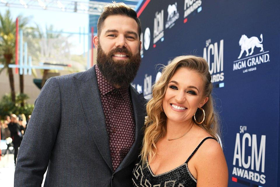 Jordan Davis (L) and Kristen O'Connor attend the 54th Academy Of Country Music Awards at MGM Grand Hotel & Casino on April 07, 2019 in Las Vegas, Nevada.