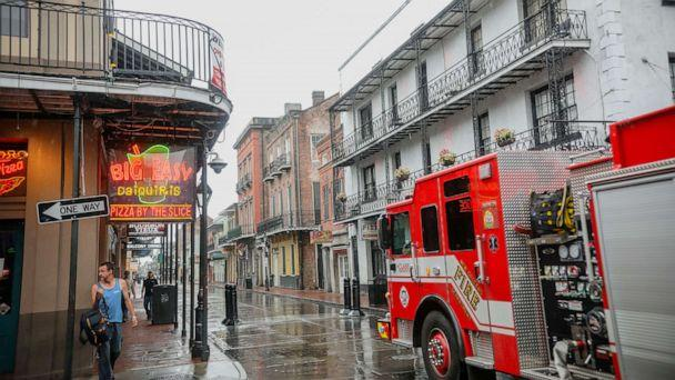 PHOTO: NEW ORLEANS, LA - OCTOBER 28: A general view of Bourbon Street in the French Quarter as Hurricane Zeta makes landfall on October 28, 2020 in New Orleans, Louisiana.   (Sandy Huffaker/Getty Images)