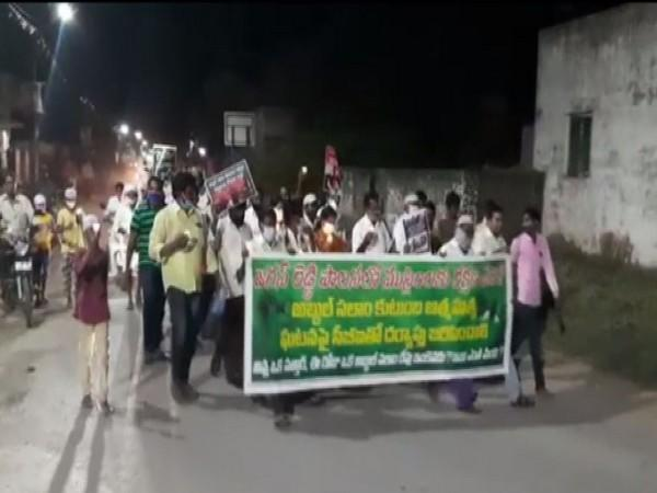 TDP leaders held candlelight march over the Abdul Salam family suicide case in Krishna District. (ANI image)