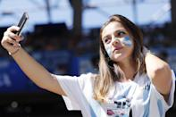 <p>A fan of Argentina during the 2018 FIFA World Cup Russia group D match between Argentina and Iceland at the Spartak Stadium on June 16, 2018 in Moscow, Russia.(Photo by VI Images via Getty Images) </p>