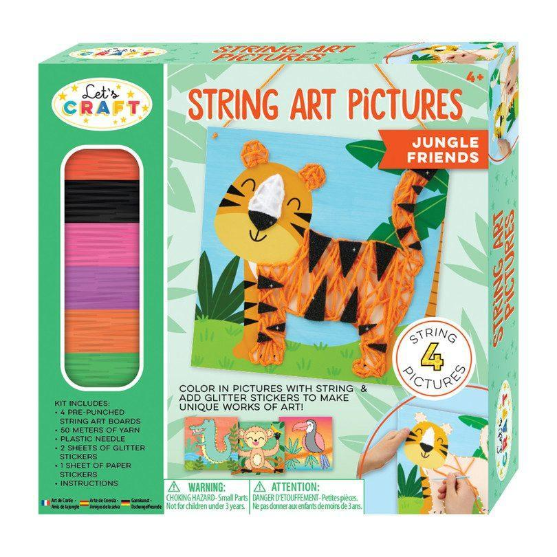 """<p><strong>Bright Stripes</strong></p><p>maisonette.com</p><p><strong>$13.00</strong></p><p><a href=""""https://go.redirectingat.com?id=74968X1596630&url=https%3A%2F%2Fwww.maisonette.com%2Fproduct%2Fstring-art-pictures-jungle-friends&sref=https%3A%2F%2Fwww.goodhousekeeping.com%2Fhome%2Fcraft-ideas%2Fg31897586%2Fcraft-kits-for-kids%2F"""" rel=""""nofollow noopener"""" target=""""_blank"""" data-ylk=""""slk:Shop Now"""" class=""""link rapid-noclick-resp"""">Shop Now</a></p><p>It's like connect-the-dots, only with acrylic yarn instead of pencil. After they're done lacing the animal shapes, kids can add foam stickers and glitter to finish off their creatures. </p>"""