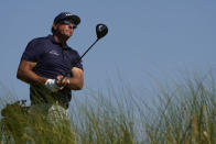 Phil Mickelson watches his ball from the eighth tee during the final round at the PGA Championship golf tournament on the Ocean Course, Sunday, May 23, 2021, in Kiawah Island, S.C. (AP Photo/David J. Phillip)