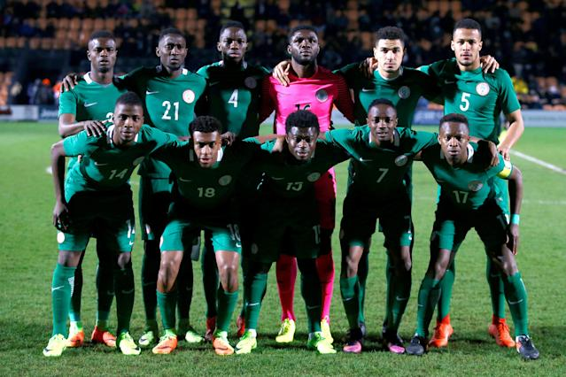 FILE PHOTO: Britain Football Soccer - Nigeria v Senegal - International Friendly - The Hive, Barnet, London, England - 23/3/17 Nigeria team group before the match Action Images via Reuters / Peter Cziborra Livepic/File Photo