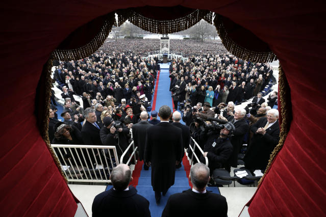 President Barack Obama arrives at the ceremonial swearing-in at the U.S. Capitol during the 57th Presidential Inauguration in Washington, Monday, Jan. 21, 2013. (AP Photo/Evan Vucci, Pool)