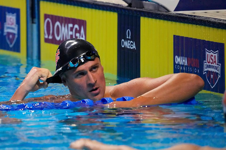 Ryan Lochte reacts in the men's 200 Individual Medley Semifinals during the U.S. Olympic Team Trials in Omaha.