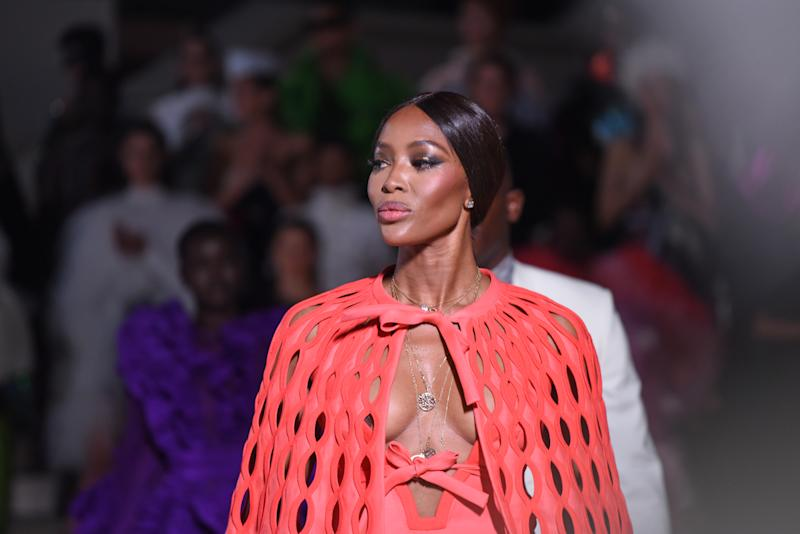 LONDON, ENGLAND - SEPTEMBER 14: Naomi Campbell walks the runway during the Fashion For Relief catwalk show London 2019 at The British Museum on September 14, 2019 in London, England. (Photo by Gareth Cattermole/Getty Images)