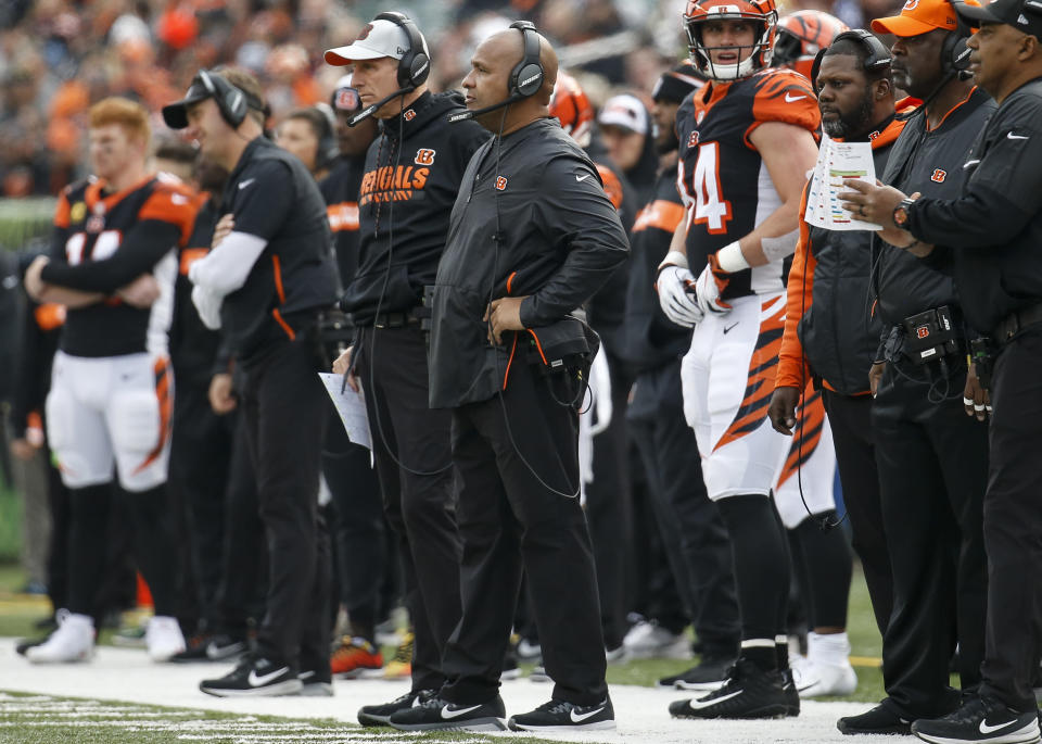 Former Cleveland Browns head coach Hue Jackson was gifted the game ball on Sunday against his former team, but not in a good way. (AP)