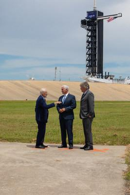 Vice President Mike Pence celebrates the 50th anniversary of the Apollo 11 Moon landing with Apollo 11 Lunar Module Pilot Buzz Aldrin (left) and Rick Armstrong (right), son of Apollo 11 Commander Neil Armstrong, during a visit to Launch Complex 39A at NASA's Kennedy Space Center in Florida on July 20, 2019. Credits: NASA/Kim Shiflett