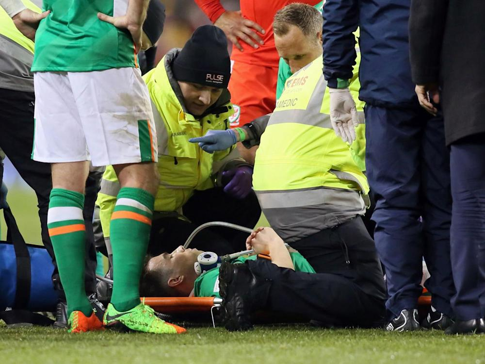 The defender suffered a terrible injury while playing for the R of Ireland (Getty)