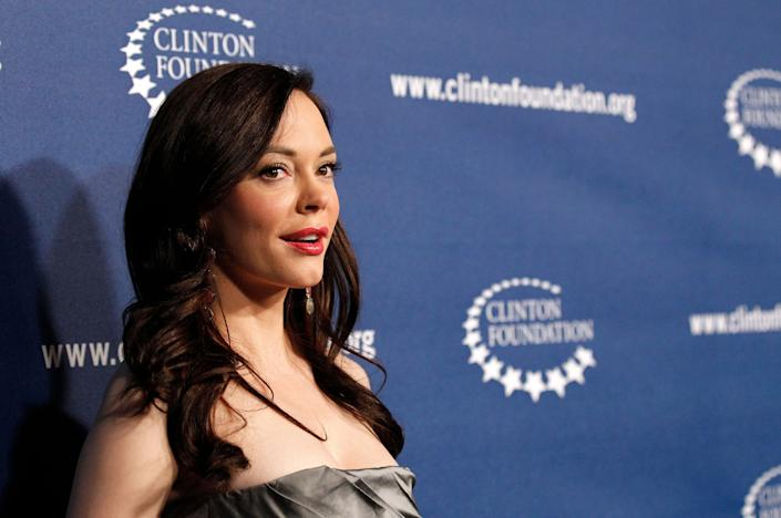 """Rose McGowan has been vocal about the scandal since the New York Times published its bombshell report on Weinstein's alleged misconduct. McGowan, the Times said,&nbsp;was one of several women&nbsp;with whom Weinstein reached a financial settlement following the alleged abuse.&nbsp;<br><br>After The Weinstein Company fired Harvey, <a href=""""https://www.huffingtonpost.com/entry/rose-mcgowan-weinstein-board_us_59db2ee0e4b046f5ad994249?ncid=tweetlnkushpmg00000067"""" rel=""""nofollow noopener"""" target=""""_blank"""" data-ylk=""""slk:the actress and director called on"""" class=""""link rapid-noclick-resp"""">the actress and director called on</a>&nbsp;the rest of the studio's board to resign.<br><br>""""They knew,"""" she said in a tweet. """"They funded. They advised. They covered up. They must be exposed. They must resign."""""""