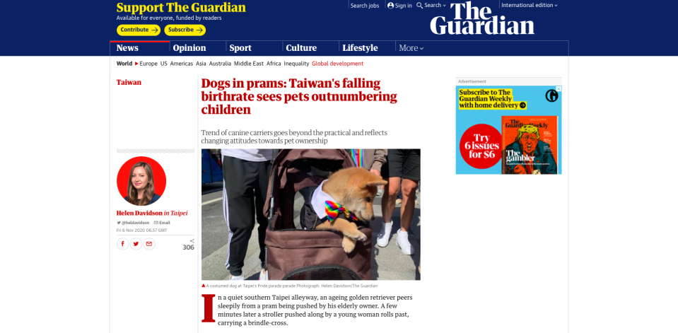 <p>Screengrab from The Guardian</p>