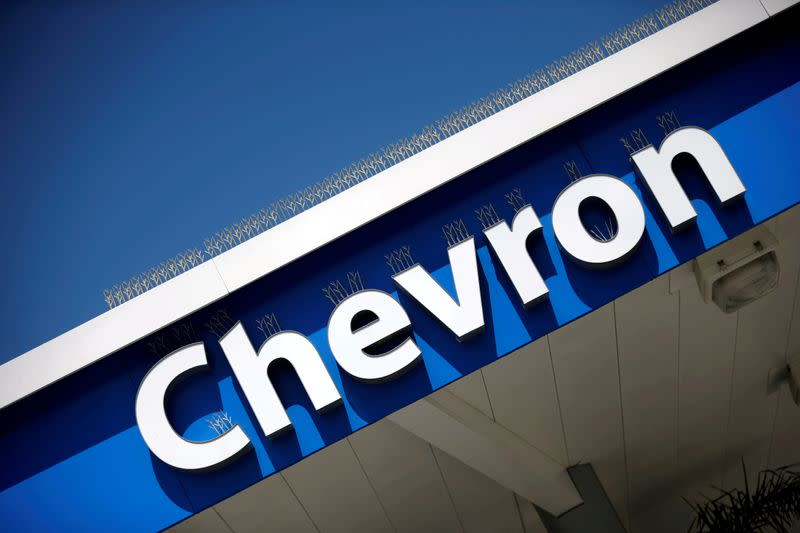 FILE PHOTO: The logo of Chevron is seen in Los Angeles