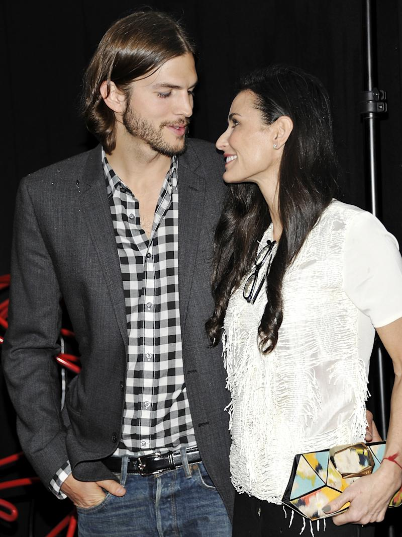 """FILE - In this June 9, 2011 file photo, actors Ashton Kutcher and Demi Moore attend the first annual Stephan Weiss Apple Awards at the Urban Zen Center in New York. Moore is ending her marriage to Ashton Kutcher. The 49-year-old actress said Thursday, Nov. 17, 2011, that """"it is with great sadness and a heavy heart that I have decided to end my six-year marriage to Ashton."""" (AP Photo/Evan Agostini, file)"""