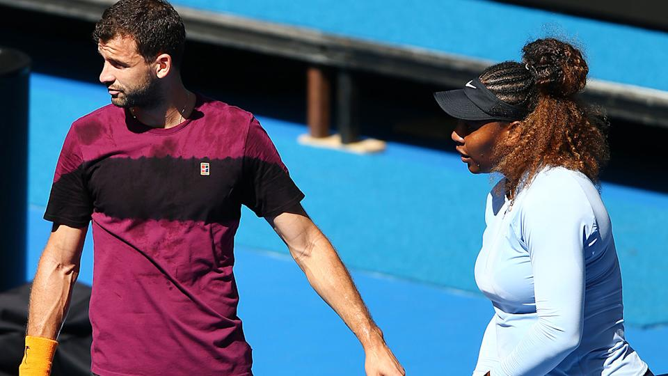 Grigor Dimitrov and Serena Williams, pictured here at the Australian Open in 2019.