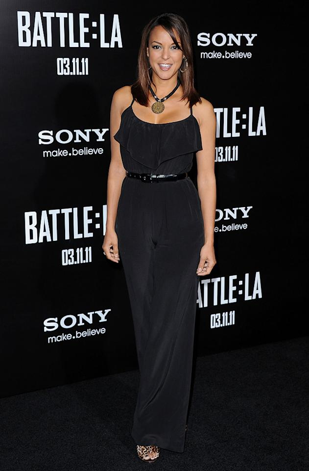 """<a href=""""http://movies.yahoo.com/movie/contributor/1800031944"""">Eva La Rue</a> at the Los Angeles premiere of <a href=""""http://movies.yahoo.com/movie/1810119633/info"""">Battle: Los Angeles</a> on March 8, 2011."""
