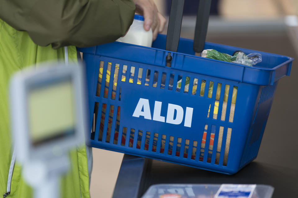 CARDIFF, UNITED KINGDOM - AUGUST 30: Aldi branding seen in an Aldi supermarket on August 30, 2018 in Cardiff, United Kingdom. (Photo by Matthew Horwood/Getty Images)