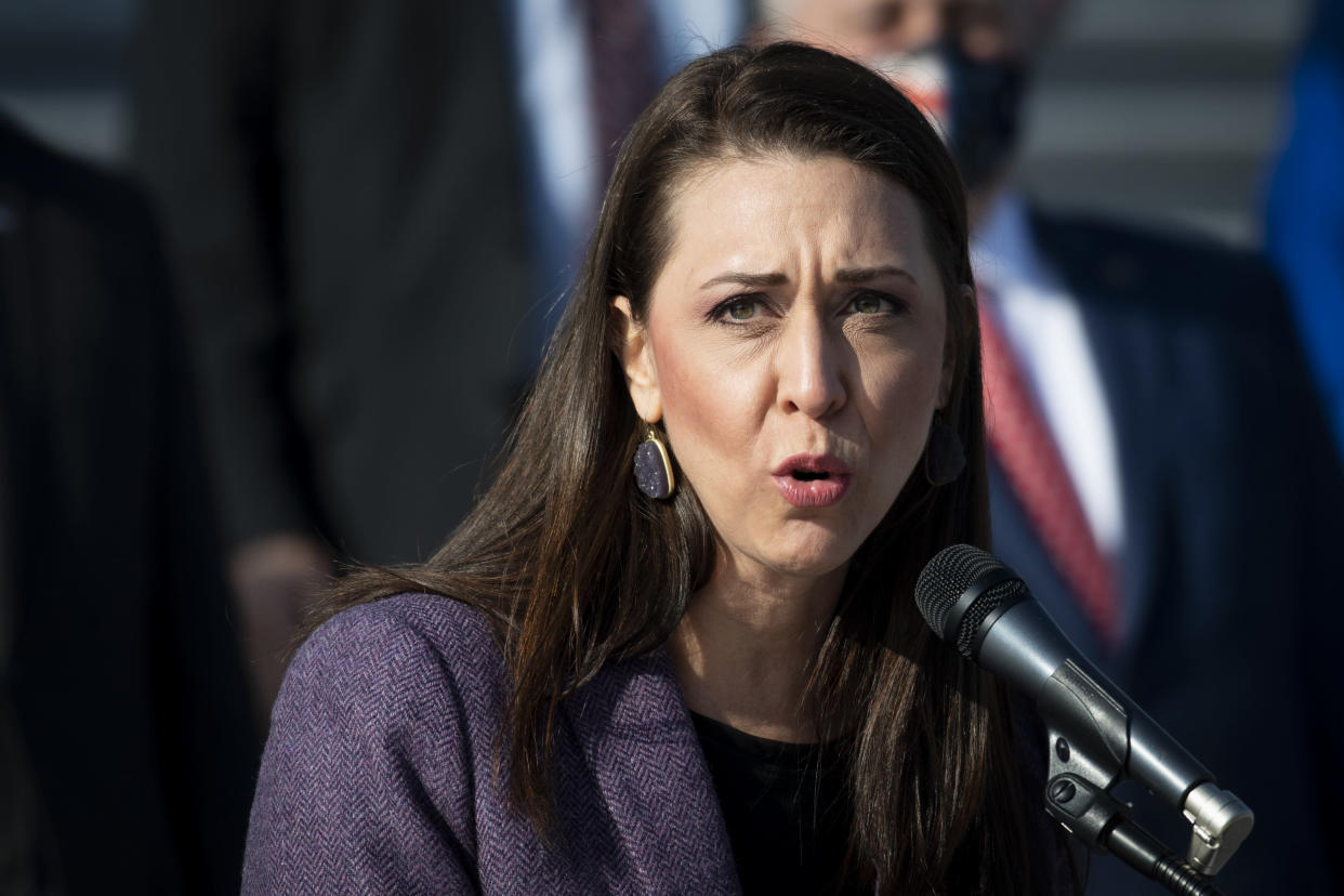 Rep. Jaime Herrera Beutler, R-Wash., joined by other House Republicans, speaks during a news conference on the House steps in Washington on Thursday, Dec. 10, 2020. (Caroline Brehman/CQ-Roll Call, Inc via Getty Images)