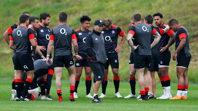 Rugby Union - England Training - Pennyhill Park, Bagshot, Britain - May 24, 2018 England head coach Eddie Jones and players during training Action Images via Reuters/Andrew Couldridge