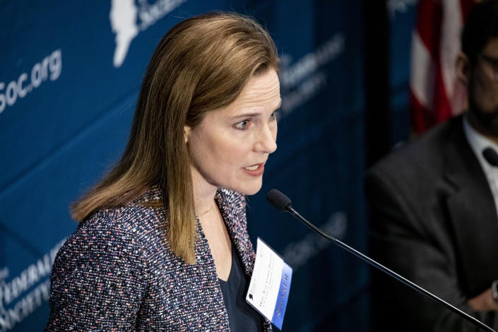 Judge Amy Coney Barrett, President Donald Trump's pick to replace Justice Ruth Bader Ginsburg, at the Federalists Society's 2019 National Lawyers Convention in Washington, Nov. 15, 2019. (Samuel Corum/The New York Times)