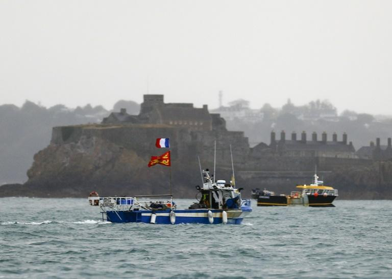 Earlier this year, French fishing boats protested off Jersey over what they said were unfair restrictions (AFP/Sameer Al-DOUMY)