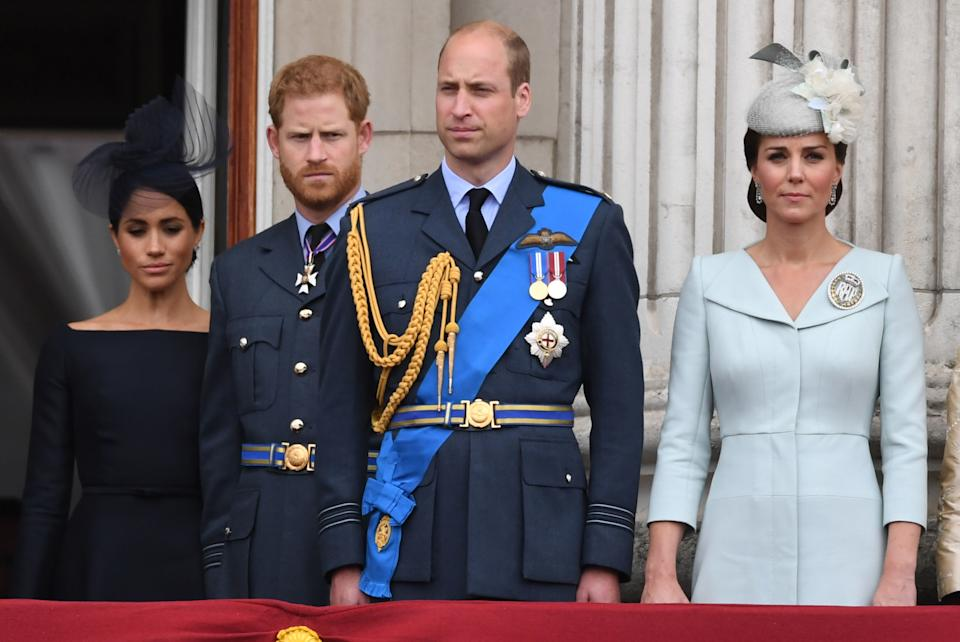 (left to right) The Duchess of Sussex, Duke of Sussex, Duke of Cambridge and Duchess of Cambridge on the balcony at Buckingham, Palace where they watched a Royal Air Force flypast over central London to mark the centenary of the Royal Air Force.