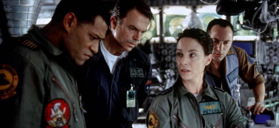 from left, Laurence Fishburne, Sam Neill, Kathleen Quinlan, and Jason Isaacs, in Event Horizon.