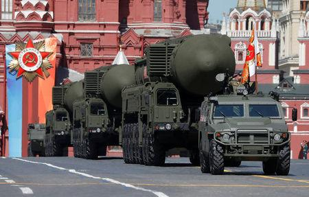Russian servicemen drive Yars RS-24 intercontinental ballistic missile systems during the Victory Day parade at the Red Square in Moscow