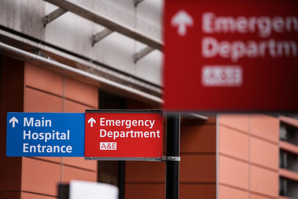 Signs point to the emergency department of the Royal London Hospital in London, England, on January 11, 2021. Mayor of London Sadiq Khan on Friday declared a 'major incident' for the city over coronavirus pressures, warning that hospitals could soon be overwhelmed with patients with covid-19. (Photo by David Cliff/NurPhoto via Getty Images)
