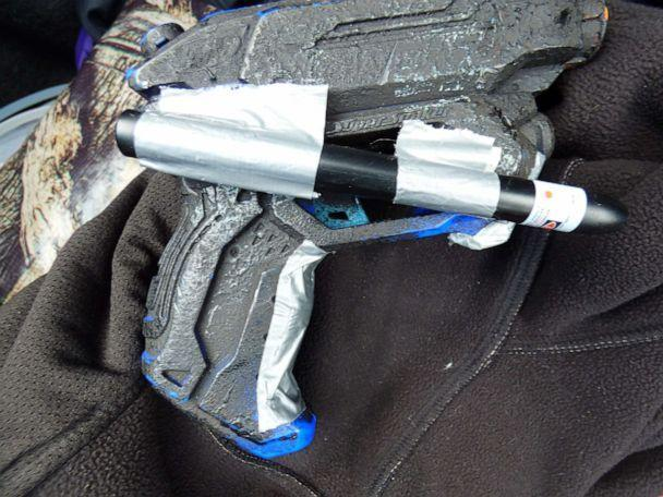 PHOTO: Among the evidence that Dublin, California, police found in Matthew Muller's Lake Tahoe cabin was this toy gun with a laser pointer taped on.  (Dublin Police Services)