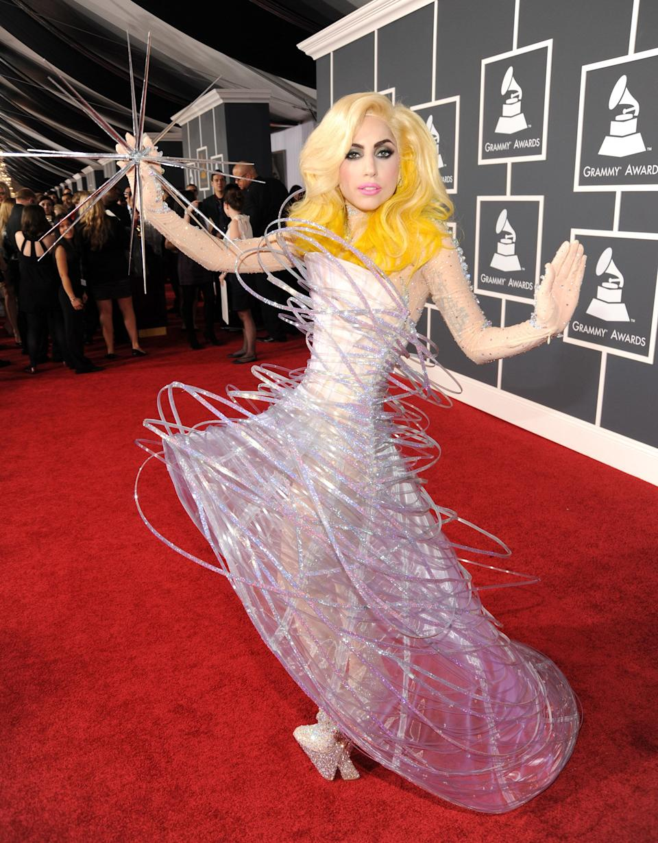 Gaga wears Armani Privé on the red carpet at the 2010 Grammy Awards in Los Angeles.