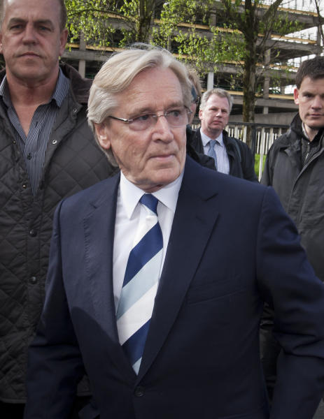 FILE - This May 14, 2013 file photo shows actor William Roache arriving at Preston Magistrates court to face charges of raping a 15-year-old girl, Preston, England. The 81-year-old actor, who has played Ken Barlow in the TV soap Coronation Street has been charged with two counts of rape against his alleged victim in 1967. Roache was charged Thursday, June 6, with five counts of indecent assault on young girls dating back to the 1960s. Prosecutor Nazir Afzal said Thursday the allegations of indecent assault were made to police after Roache was charged with rape in May. (AP Photo/Jon Super, file)