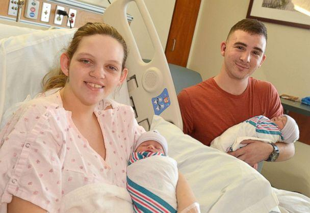 PHOTO: Marine Cpl. Nicholas Digregorio and wife Danielle hold their newborn twin girls (Sadie and Scarlett) at Naval Hospital Jacksonville, Sept. 14, 2018 in Jacksonville, Fla. (U.S. Navy photo by Jacob Sippel, Naval Hospital Jacksonville/Released)