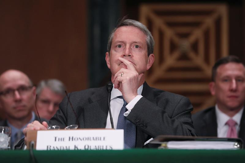 """Randal Quarles, vice chairman for Supervision of the Federal Reserve Board of Governors, listening to opening statements as he testifies before a Senate Banking Committee hearing titled, """"Oversight of Financial Regulators"""" on Capitol Hill in Washington, U.S., May 15, 2019. REUTERS/Jonathan Ernst"""