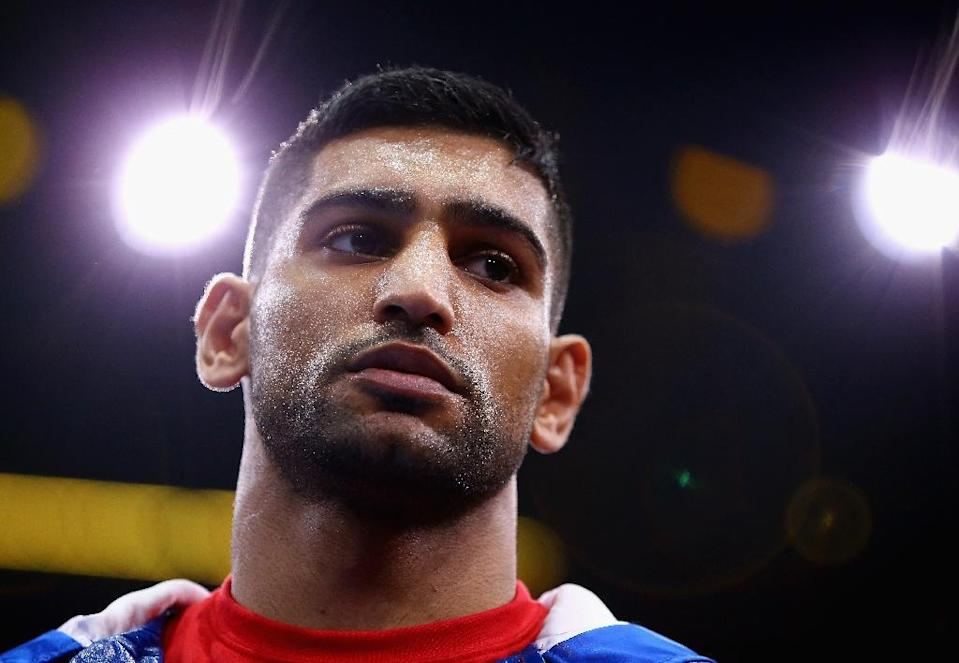 Amir Khan looks on before his welterweight fight against Chris Algieri at Barclays Center of Brooklyn on May 29, 2015 in New York City (AFP Photo/Al Bello)