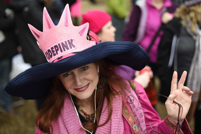 <p>Jodi Evans from Los Angeles, Calif., attends the Women's March on Washington on Independence Ave. on Saturday, Jan. 21, 2017, in Washington, on the first full day of Donald Trump's presidency. (AP Photo/Sait Serkan Gurbuz) </p>