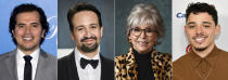 """This combination of photos shows actors, from left, John Leguizamo, Lin-Manuel Miranda, Rita Moreno and Anthony Ramos. """"In the Heights"""" has brought great expectation to the Latino community, which has been historically underrepresented and typecast on the screen. Many are hopeful it will mark a new beginning in Hollywood for the largest minority in the U.S. (AP Photo)"""