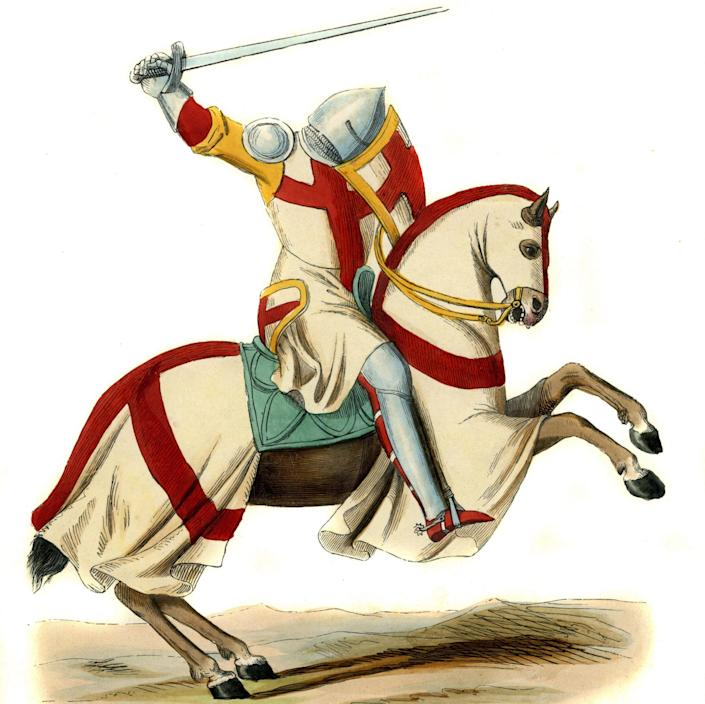 Templar knight on his horse ready for battle - Culture Club/Hulton Archive